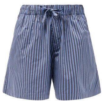 Tekla Striped Organic-cotton Pyjama Shorts - Blue Stripe