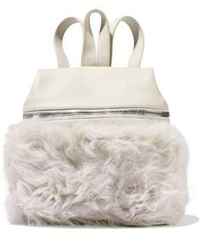 Kara Shearling-paneled Leather Backpack