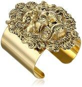 """Yochi Lion Head 14k Gold-Plated Cuff Bracelet, 5"""""""