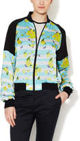 ICB Women's Silk Striped Floral Bomber Jacket