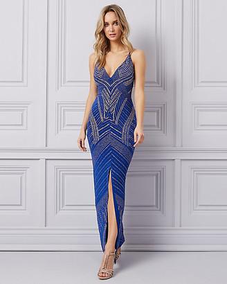 Le Château Sparkle Knit Deep-V Open Back Gown