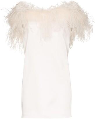 Saint Laurent Silk Feather-Trimmed Mini Dress