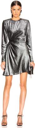 Saint Laurent Knot Detail Metallic Velvet Mini Dress in Black & Silver   FWRD