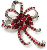 Avalaya Hot Red Crystal Bow Corsage Brooch (Silver Tone)
