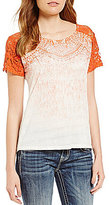 Miss Me Embellished Dip-Dye Crochet-Sleeve Knit Top