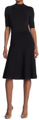 Lafayette 148 New York Mock Neck Short Sleeve Fit & Flare Sweater Dress
