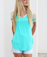 Aqua & White Raglan Short-Sleeve Tee