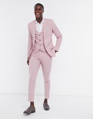 ASOS DESIGN wedding super skinny suit vest in green cross hatch