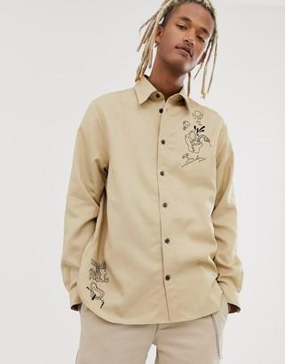 Weekday embroided shirt in khaki beige