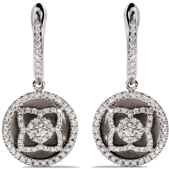 De Beers 18kt white gold Enchanted Lotus mother-of-pearl and diamond sleeper earrings