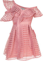 Self-Portrait lace frill mini dress - women - Polyester - 14