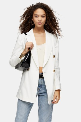 Topshop Womens Petite Ivory Belted Double Breasted Blazer - Ivory