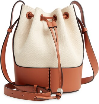 Loewe Small Balloon Woven Cotton & Leather Bucket Bag