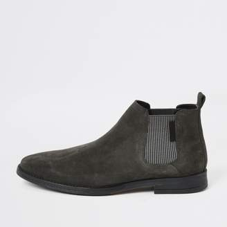 River Island Mens Grey low suede Chelsea boots