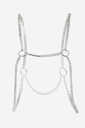 Topshop Womens **Circle Link Body Chain - Silver