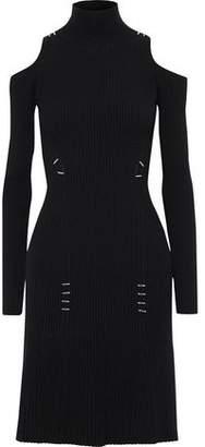Thierry Mugler Cold-shoulder Embellished Ribbed-knit Turtleneck Dress