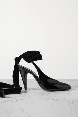 Saint Laurent Velvet-trimmed Patent-leather Slingback Pumps - Black
