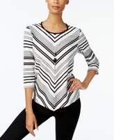 Alfred Dunner Petite Chevron-Striped Necklace Top