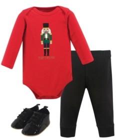 Hudson Baby Baby Girls Nutcracker Bodysuit, Pant and Shoe Set, Pack of 3
