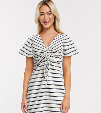 Wednesday's Girl mini dress with ruched front in stripe rib