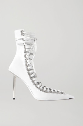 Balenciaga Corset Lace-up Leather Ankle Boots - White