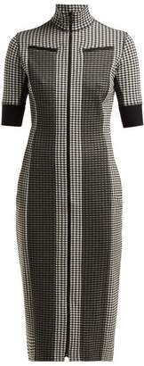 Proenza Schouler White Label - Gingham Zip-through Jersey Dress - Womens - Black White