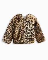 Splendid Little Girl Leopard Faux Fur Hoodie