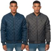 Kangol Mens Quilted Casual Bomber Jacket Branded Ribbed Puffa Fitted Bubble Coat