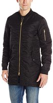 Scotch & Soda Men's All-Over Quilted Long Bomber Jacket
