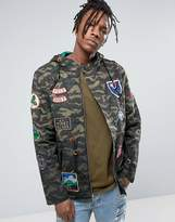 Reason Camo Parka In Dip Dye With Patches