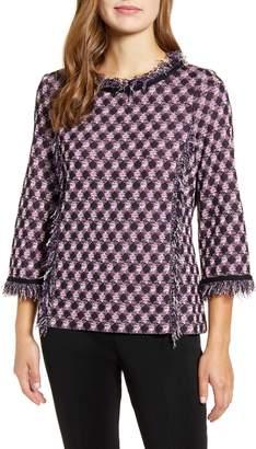 Ming Wang Fringe Trim Tunic Sweater
