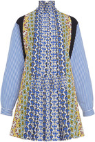 Prada Smocked Printed Crepe Mini Dress