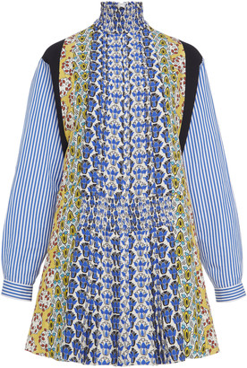 Prada Smocked Printed Crepe Mini Dress