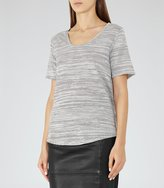 Reiss Sheva - Striped T-shirt in White, Womens