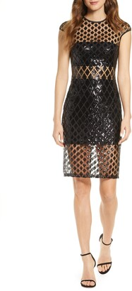 SHO Sequined Illusion Mesh Cocktail Dress