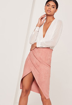Missguided Faux Suede Asymmetric Midi Skirt Pink