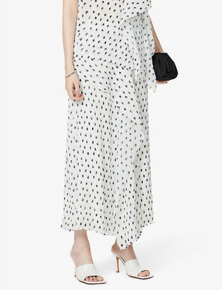 Roland Mouret Falun dot-print high-waist crepe midi skirt