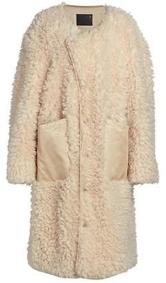 R 13 Military Liner Faux Fur Longline Coat