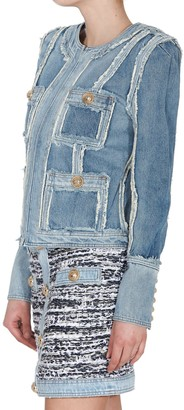 Balmain Denim Patchwork Blazer