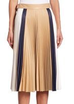 Victoria Beckham Pleated Leather Skirt