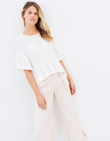 Moon River Raw Edge Detailed Oversized Top