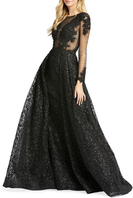 Mac Duggal Long-Sleeve Illusion Ball Gown