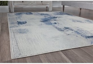 """Bungalow Rose Taelyn Abstract Ivory/Blue Area Rug Rug Size: Rectangle 5'3"""" x 7'"""