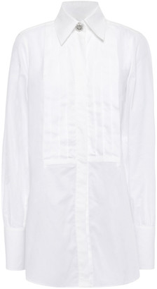 ALEXACHUNG Embellished Pintucked Cotton Shirt