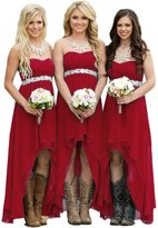 Fanciest Women' Strapless High Low Bridesmaid Dresses Wedding Party Gowns US