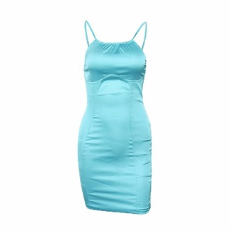 DISSA Women Blue Solid Sleeveless Sheath Dress Backless Slip Dress Sexy Bodycon Mini Dresses Party Cocktail Business D2616a 10