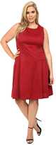 London Times Plus Size Solid Ponte Flare Dress
