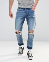 Asos Slim Cropped Jeans With Knee Rips In Light Wash