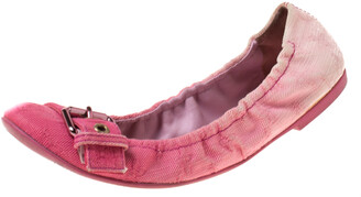 Louis Vuitton Pink Denim Buckle Scrunch Ballet Flats Size 37.5