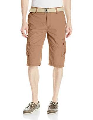 UNIONBAY Men's Big and Tall Ripstop Belted Messenger Length Cargo Short